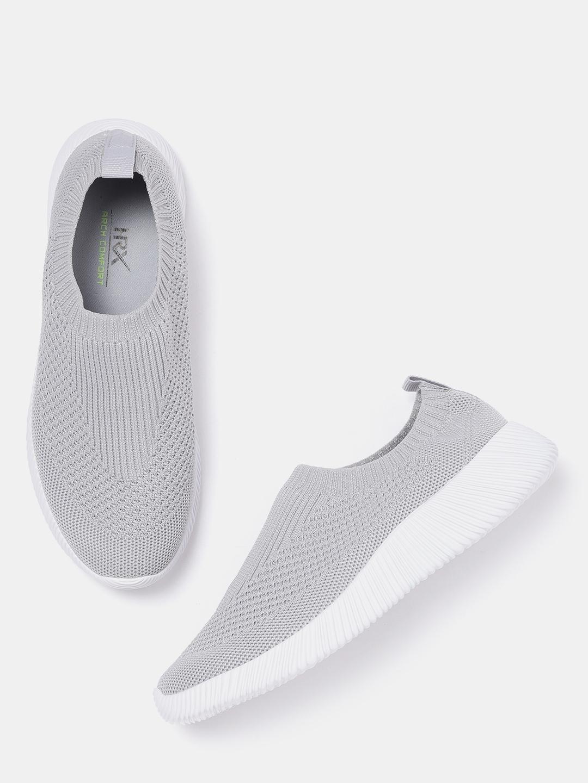 76a152faca Buy HRX By Hrithik Roshan Women Grey Woven Design Slip On Sneakers ...