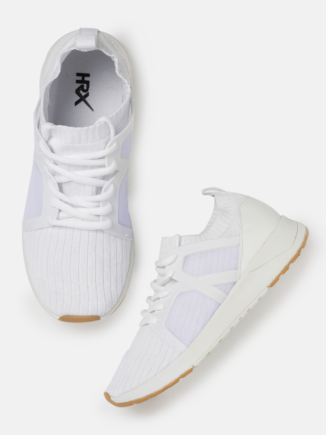 efca4c43269 HRX by Hrithik Roshan Women Fly Sneakers White Self-Striped Sneakers