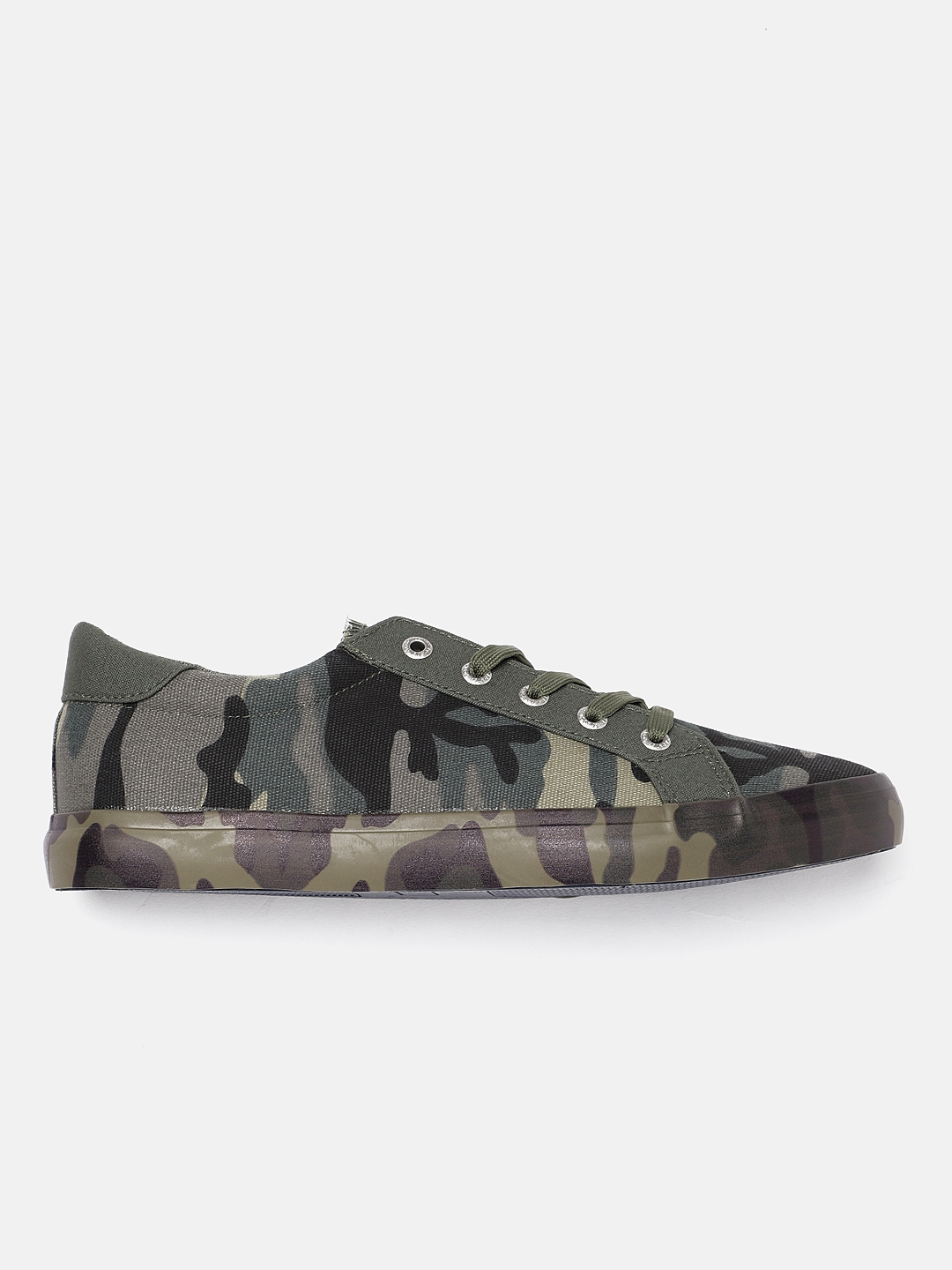 ec9bb7e6439c4 Roadster Men Green & Khaki Camouflage Print Sneakers