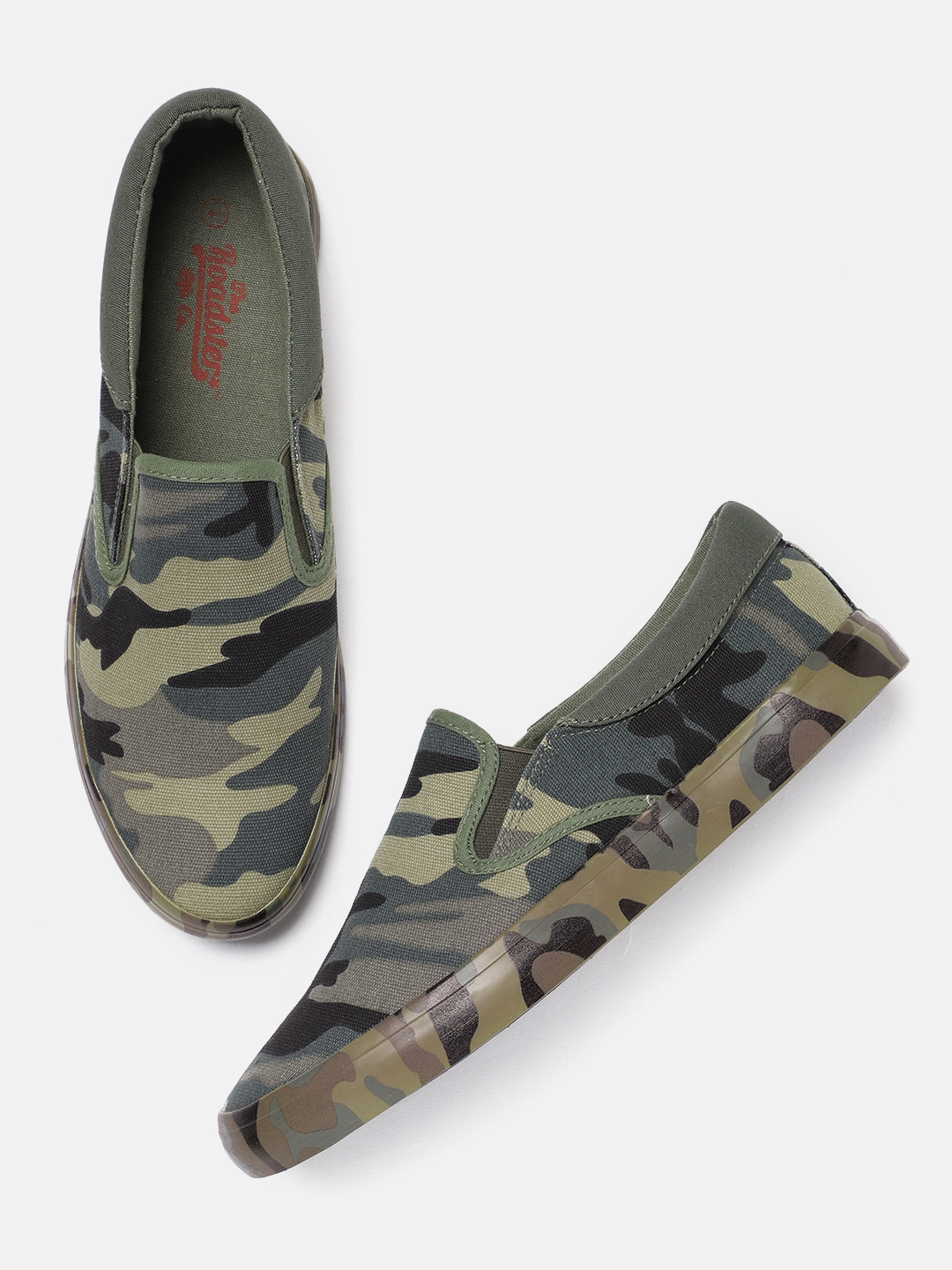 Roadster Men Green Camouflage Print Slip-On Sneakers