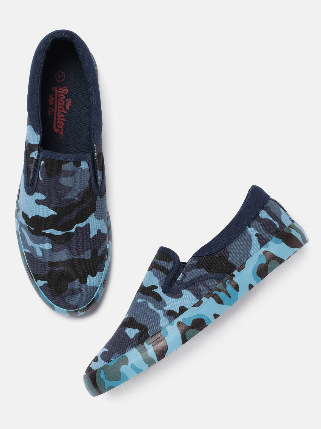 11da2918f6716 Buy Roadster Men Blue Camouflage Print Slip On Sneakers - Casual ...