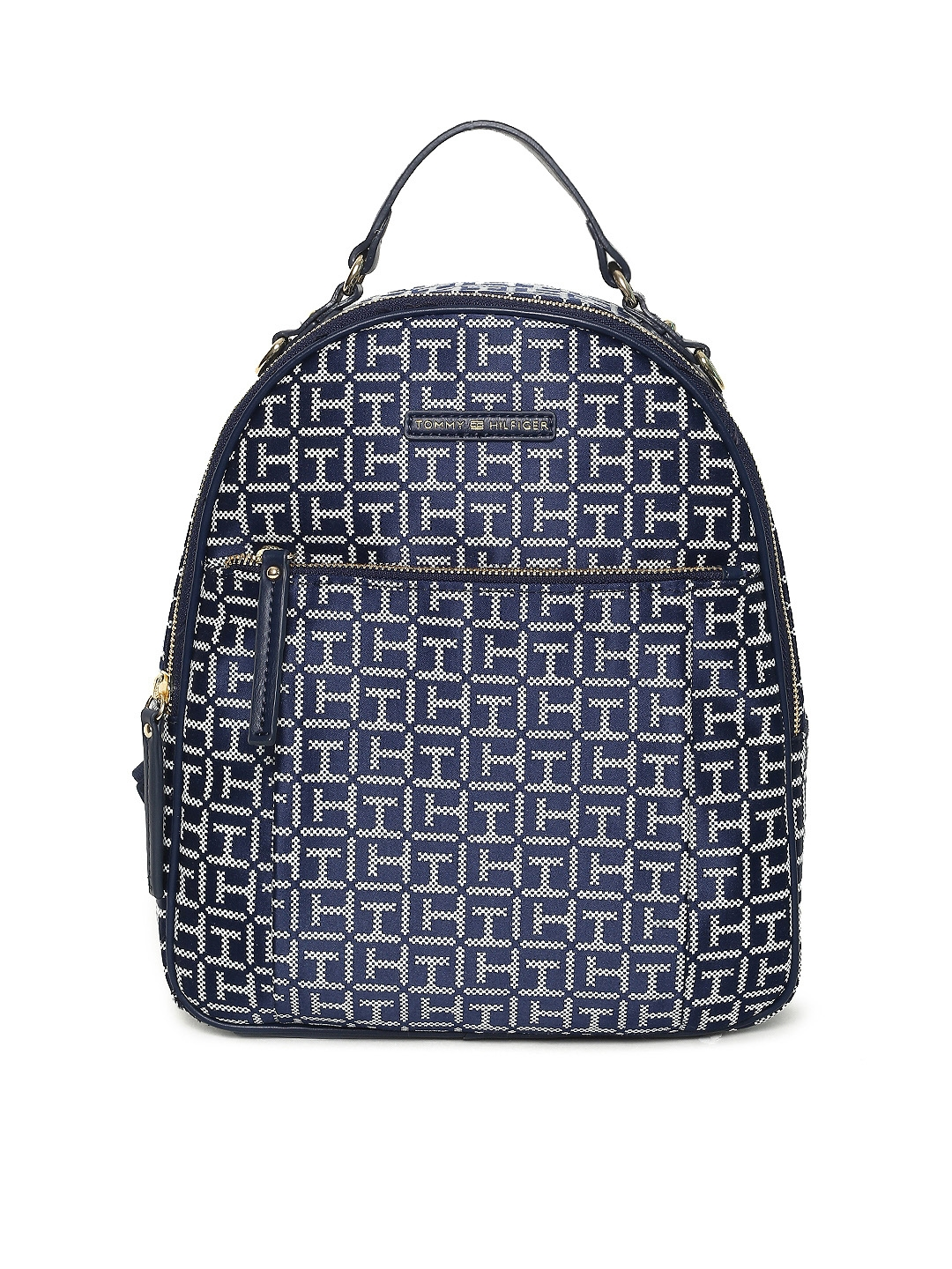 6e9f3060bd Buy Tommy Hilfiger Women Navy Blue   White Textured Backpack ...
