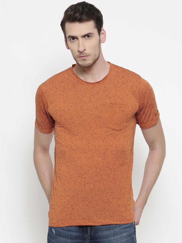 e523e4ca8d09 Buy Slub Men Rust Orange Slim Fit Self Design Round Neck T Shirt ...