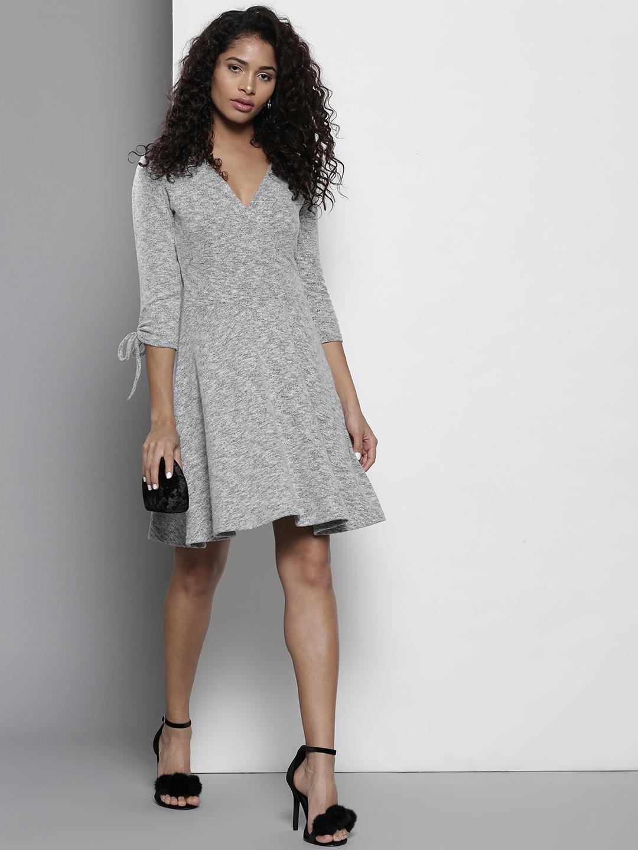 f8b85477d891a Buy DOROTHY PERKINS Women Grey Melange Solid Sweater Dress - Dresses ...
