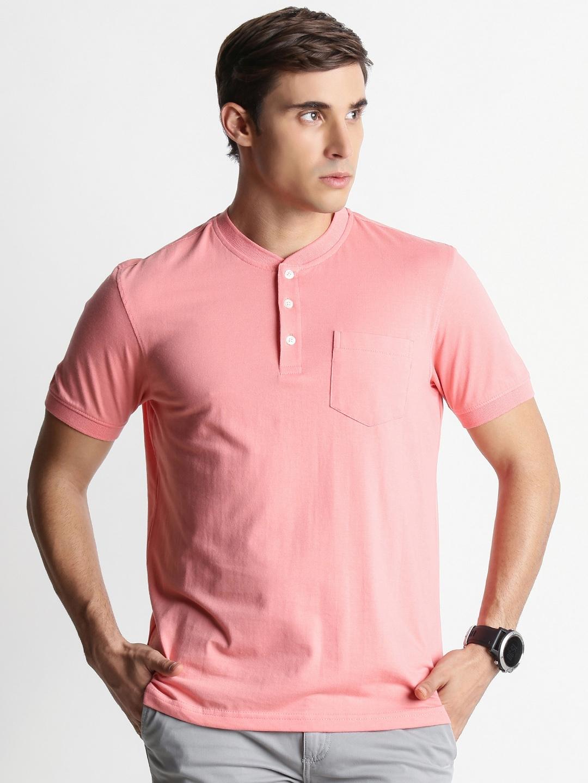 9cfca5eb Buy Spiritus By Pantaloons Men Pink Solid Mandarin Collar T Shirt ...