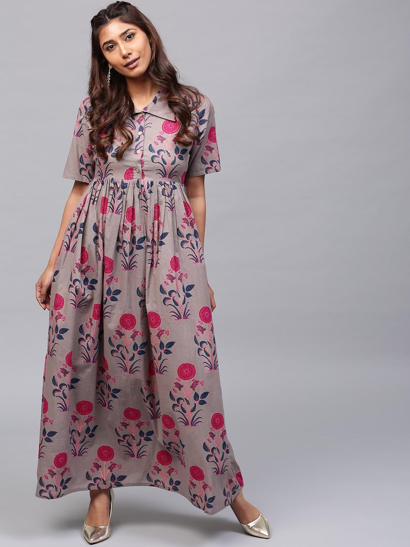 0e3a06632153 Buy AKS Women Taupe & Magenta Printed Maxi Dress - Dresses for Women ...