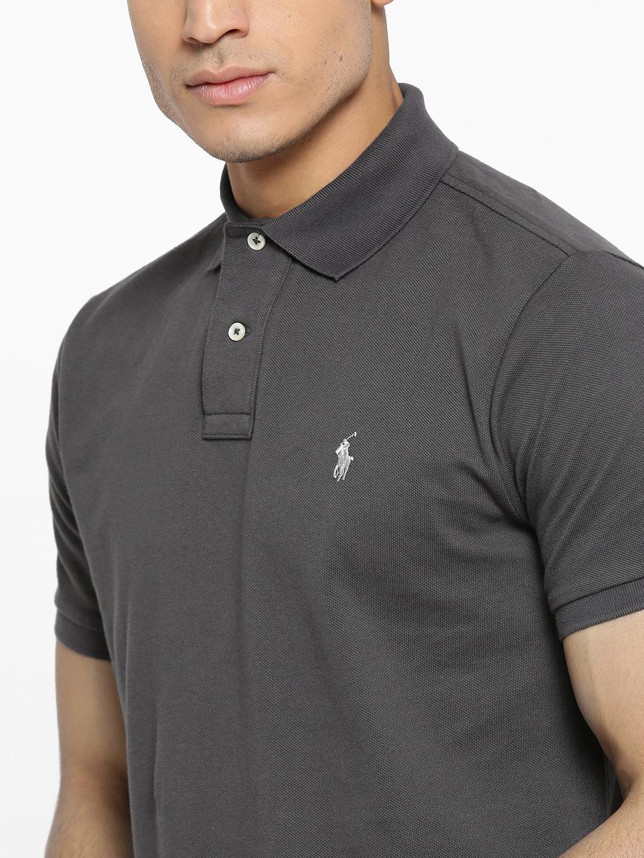 Buy Polo Ralph Lauren Men Charcoal Grey Solid Polo Collar T Shirt