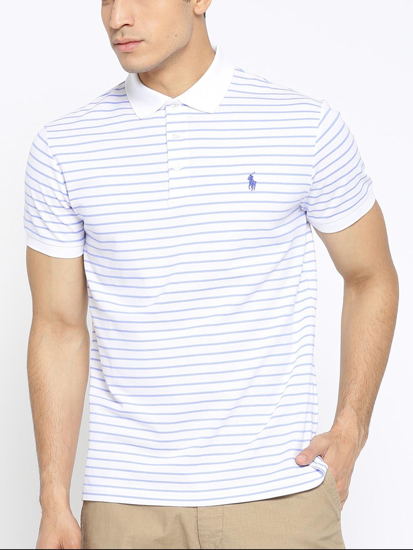 81d55446 Buy Polo Ralph Lauren Men White & Blue Striped Polo Collar T Shirt ...
