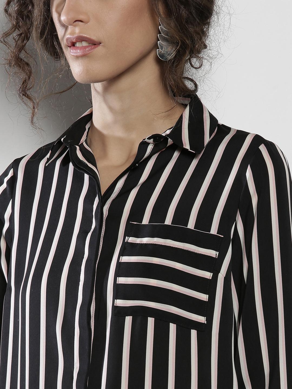 02c0940b96f Buy DOROTHY PERKINS Women Black   Off White Striped Longline Casual ...