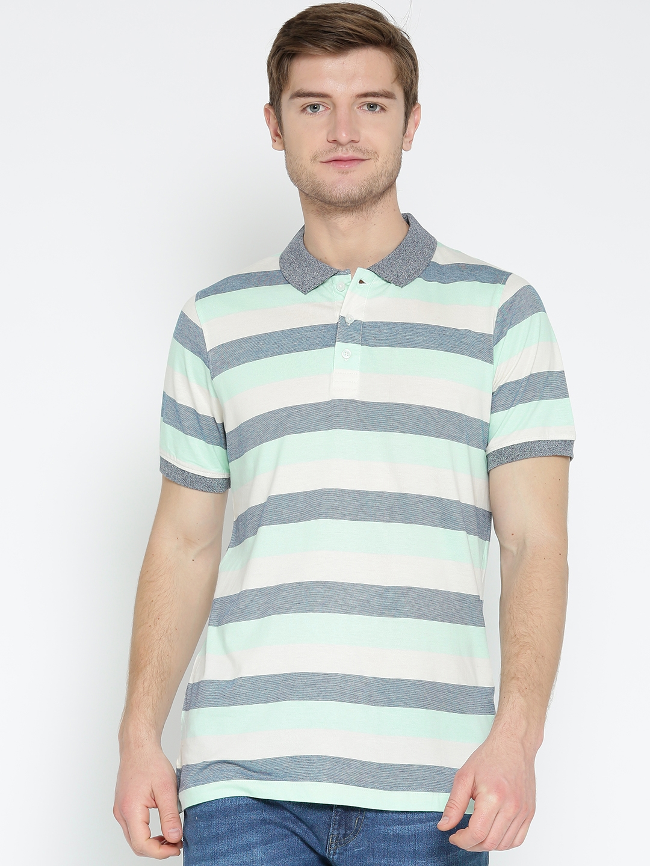 d6d788979 Buy American Crew Men Blue & Off White Striped Polo Collar T Shirt ...