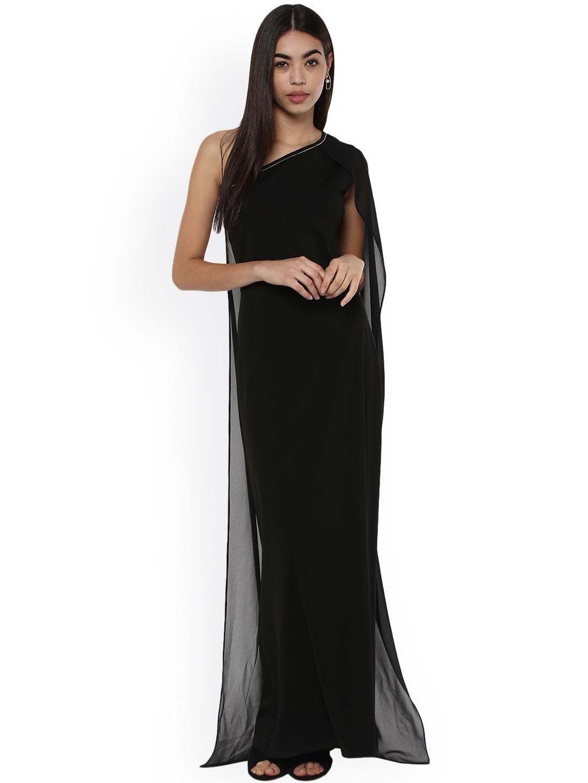 029c9b58076 Buy Kazo Women Black Solid Maxi Dress - Dresses for Women 2450263 ...