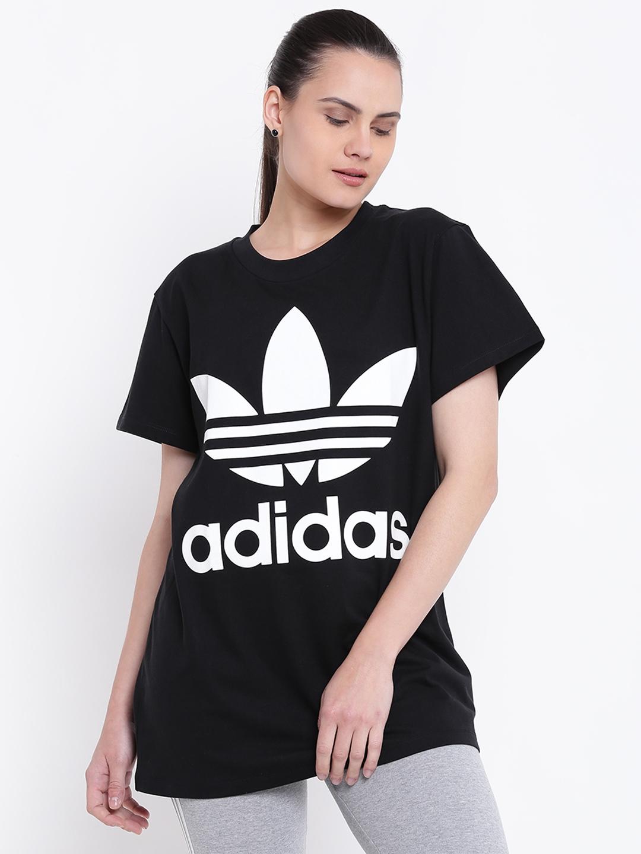 bf8307975c1 Buy ADIDAS Originals Black Big TREFOIL Printed T Shirt - Tshirts for ...
