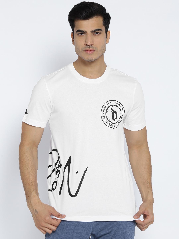 8bfd7266 ADIDAS Men White Dame Logo 2 Printed Basketball T-shirt