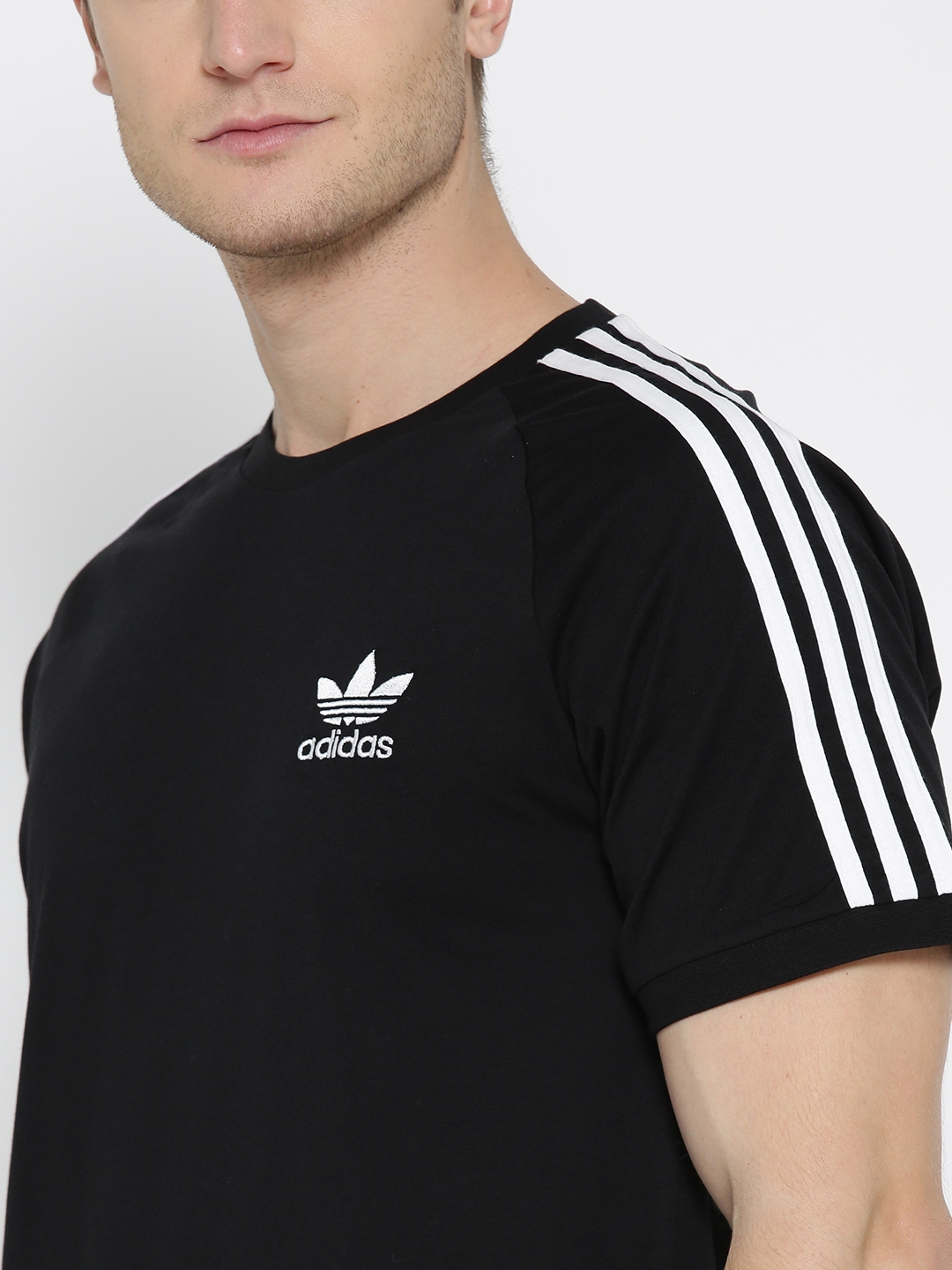 7aecf6ccf5bd Buy ADIDAS Originals Men Black 3 Stripes Solid Round Neck T Shirt ...