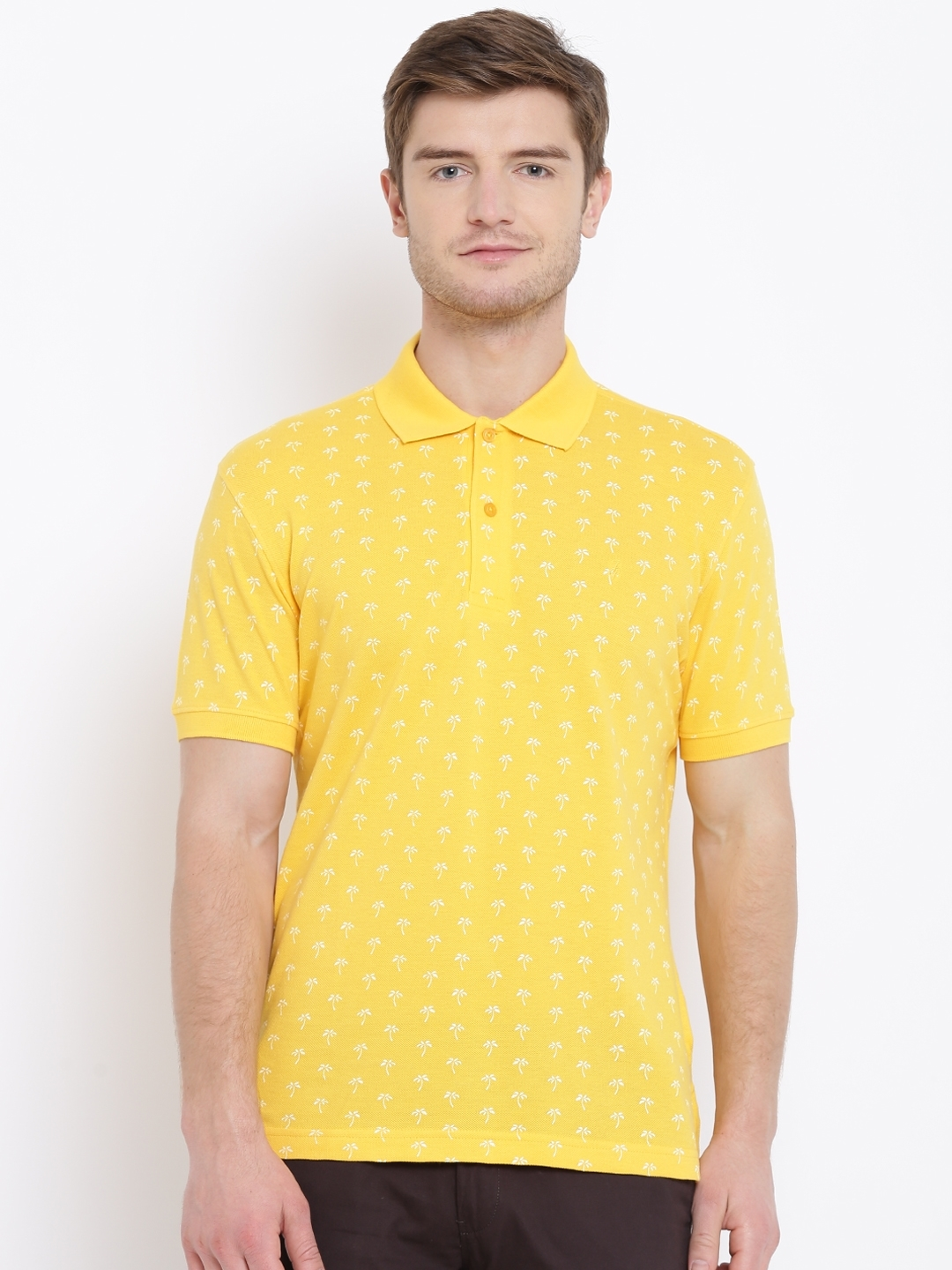 82217bfa Buy John Players Men Yellow Tropical Print Polo Collar T Shirt ...