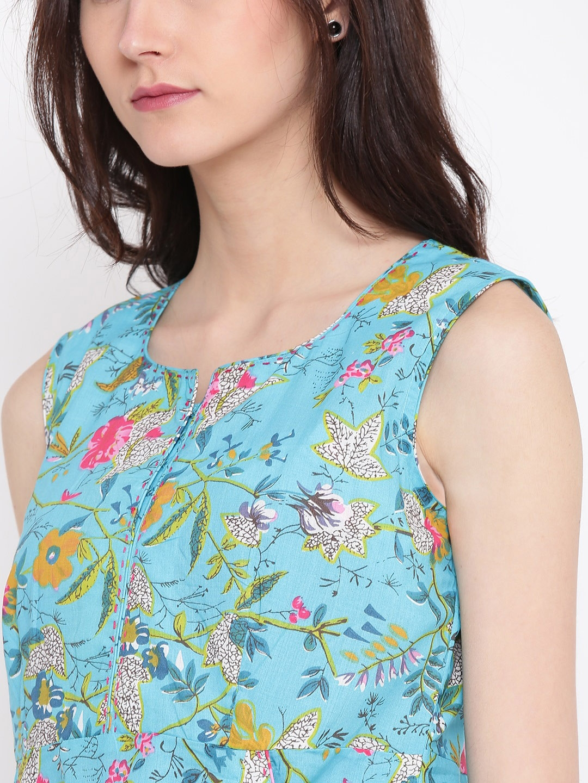 a08dd50b5be81 Buy Biba Women Turquoise Blue & Pink Floral Print Maxi Dress ...