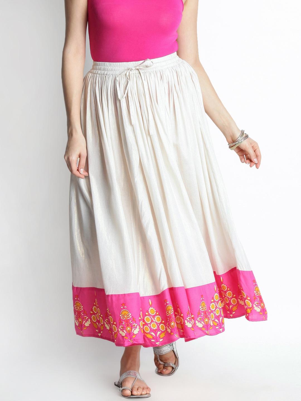 88f89e1e9 Buy AKKRITI BY PANTALOONS Off White Maxi Skirt - Skirts for Women ...