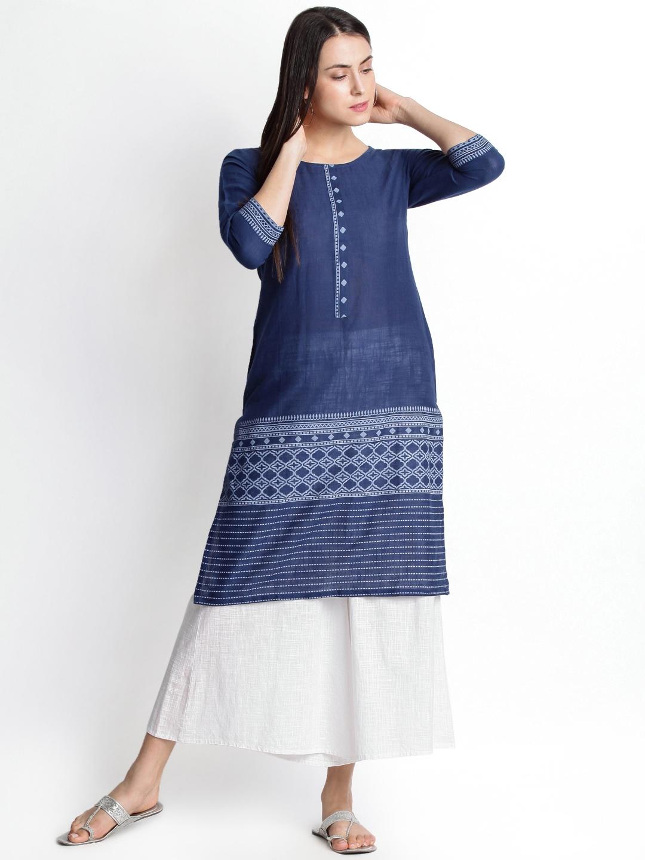 c11ce33e21a Buy RANGMANCH BY PANTALOONS Women Navy Blue Printed Straight Kurta ...