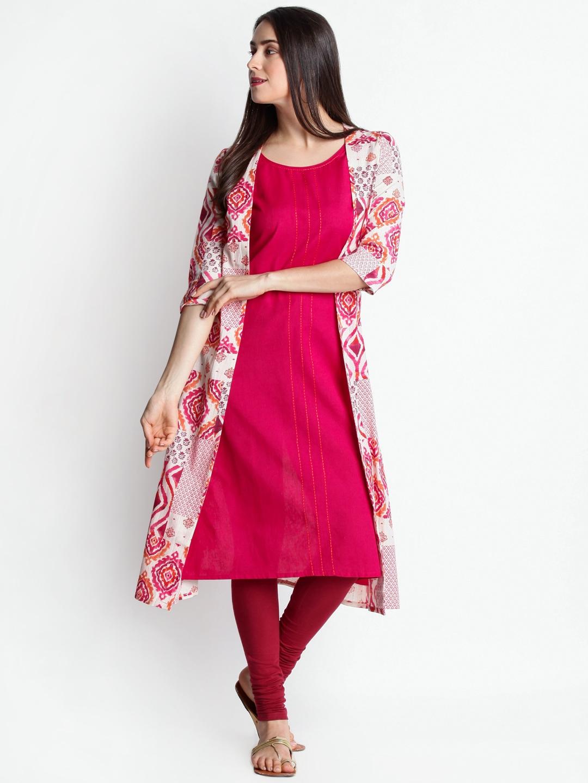 a1320daf1fc RANGMANCH BY PANTALOONS Women Pink   Beige Printed A-Line Handloom Kurta