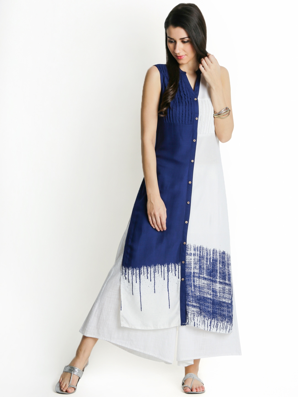 c1152867bbd RANGMANCH BY PANTALOONS Women White   Navy Blue Printed A-Line Handloom  Kurta