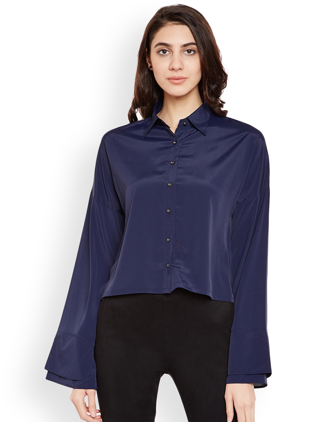77f49de1d68 Buy PRIMO KNOT Women Navy Blue Solid Shirt Style Top - Tops for ...