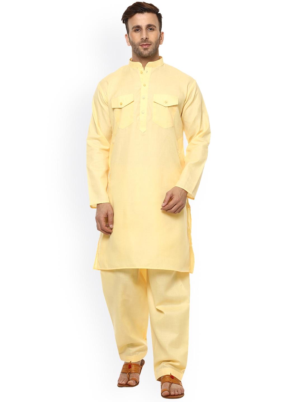 2f7b21c8c7 Buy Hangup Men Yellow Solid Pathani Kurta - Kurtas for Men 2453718 ...
