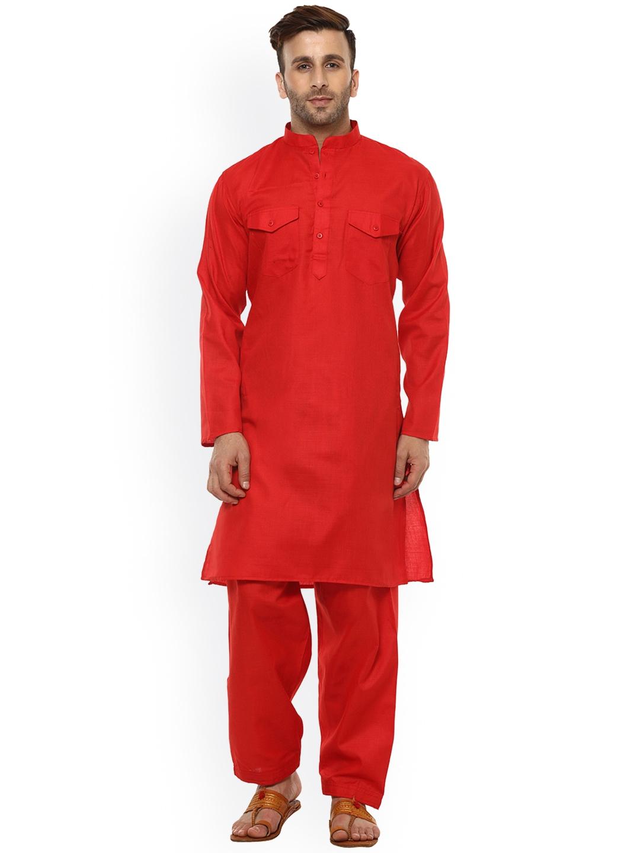 fb0aa128d4 Buy Hangup Men Red Solid Pathani Kurta - Kurtas for Men 2453730   Myntra