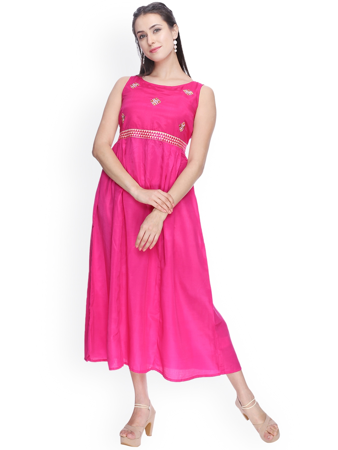 a3033db5f Buy Indian Ink Women Pink Self Design A Line Dress - Dresses for ...