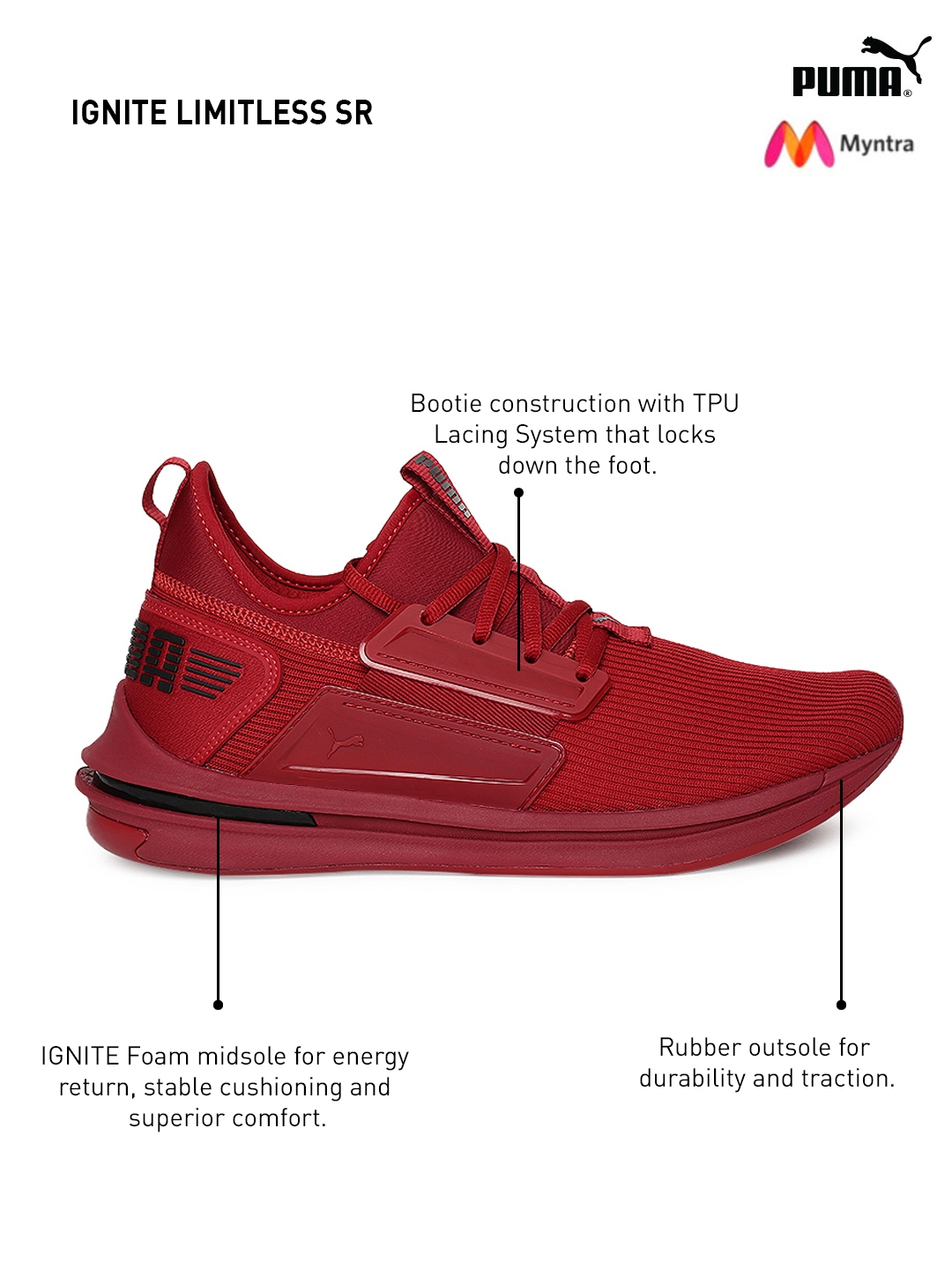 e8df5438be69 Buy Puma Men Red IGNITE Limitless SR Sneakers - Casual Shoes for Men ...