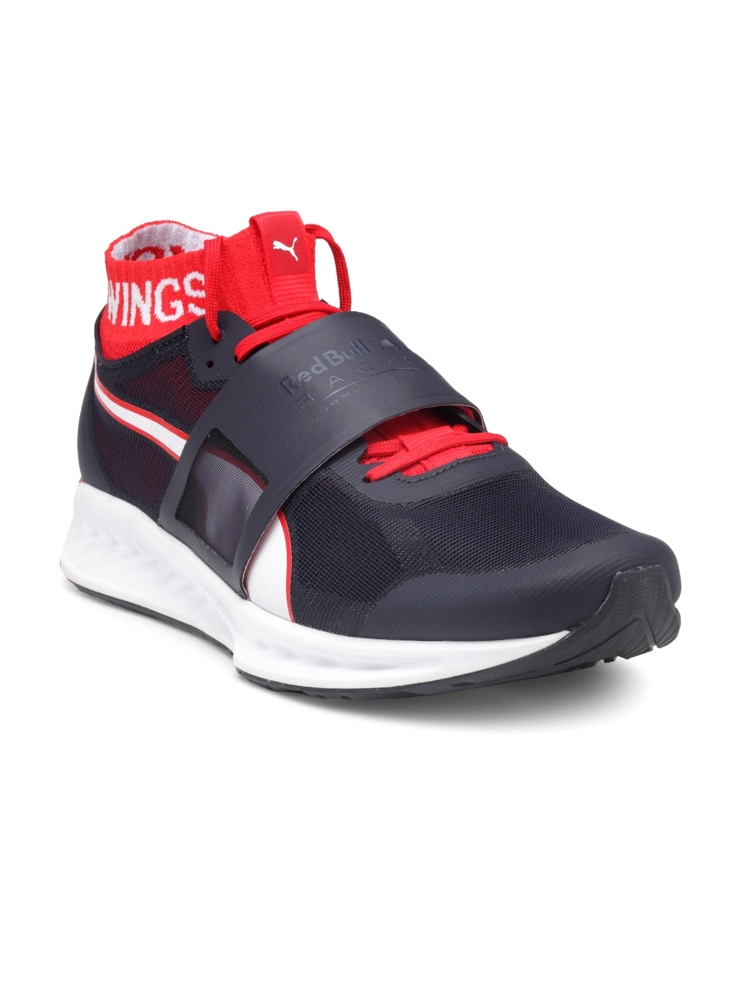new product 612ea ffaaf Puma Men Navy Blue Red Bull Racing Mechs Ignite V3 Solid Mid-Top Sneakers