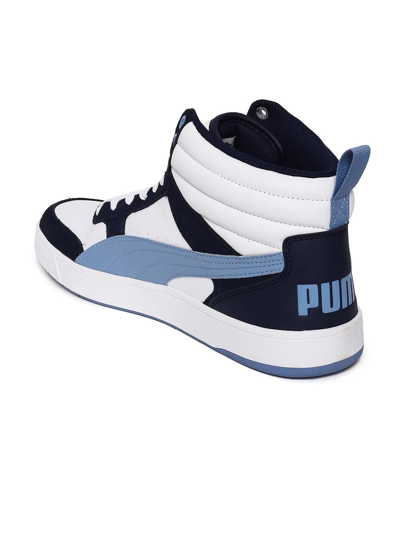 5476a55d57f8fd Buy Puma Men White   Navy Blue Rebound Street V2 Mid Top Sneakers ...