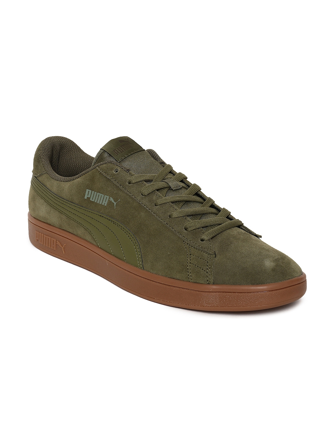 Buy Puma Men Olive Green Smash V2 Suede Sneakers - Casual Shoes for ... 1fd401571