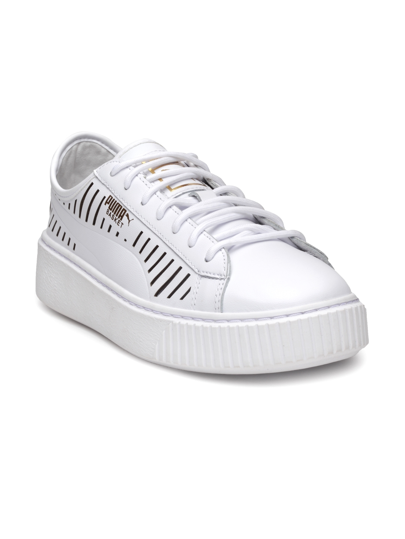 5063081f3b8e Buy Puma Women White Basket Platform Summer Wn S Sneakers - Casual ...