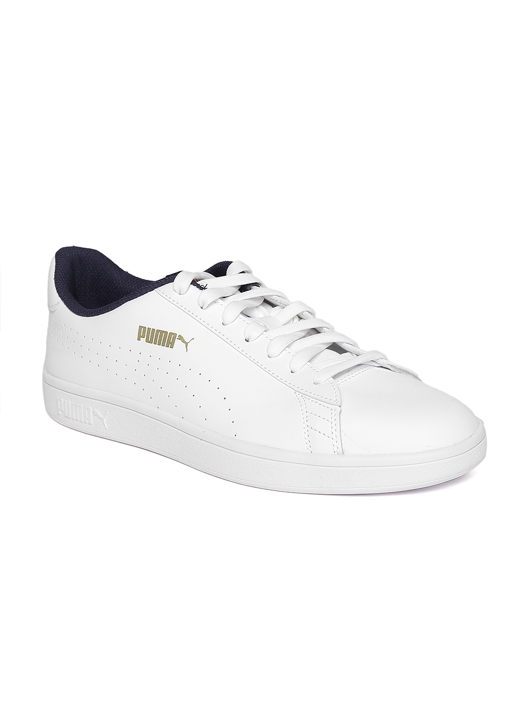 Buy Puma Men White Smash V2 L Perforated Leather Sneakers - Casual ... 491b4cb05