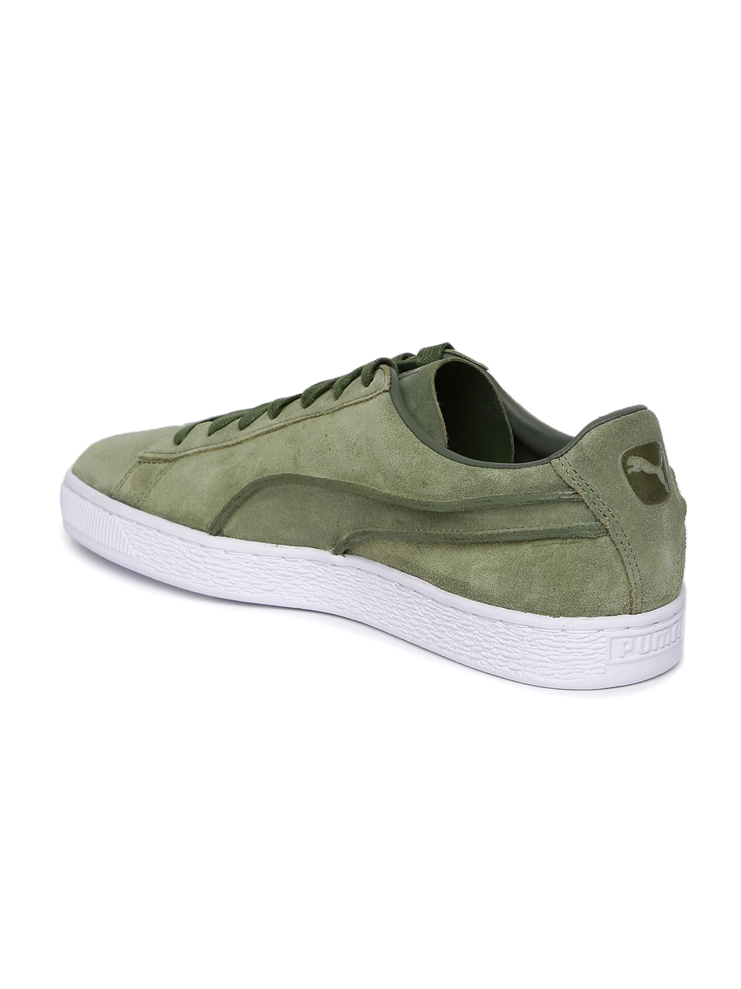 3e0250215a0a Buy Puma Men Olive Green Suede Classic Exposed Seams Sneakers ...
