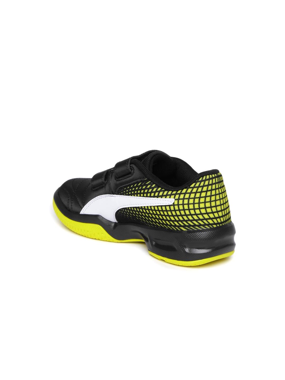 0af61d1c9 Buy Puma Boys Black   Yellow Veloz Indoor NG V Junior Sports Shoes ...