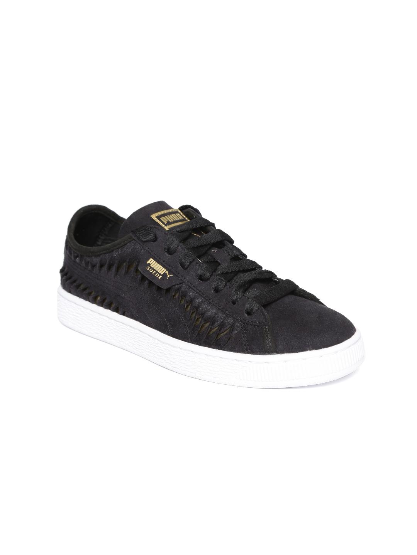 huge discount 4dcb6 d2f99 Puma Women Black Suede Metallic Entwine Sneakers