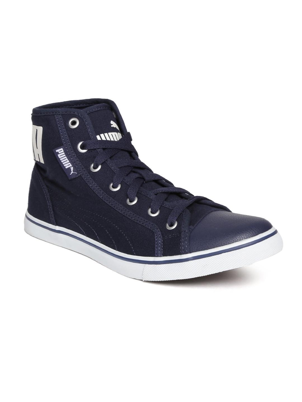 Puma Men Navy Blue Streetballer IDP Solid Mid Top Sneakers