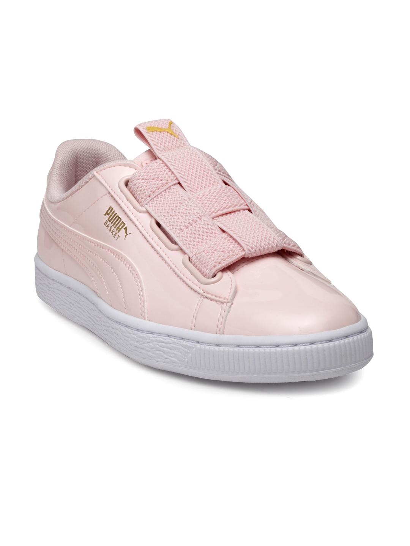 huge discount ebdc8 b1010 Puma Women Pink Basket Maze Leather Slip-On Sneakers
