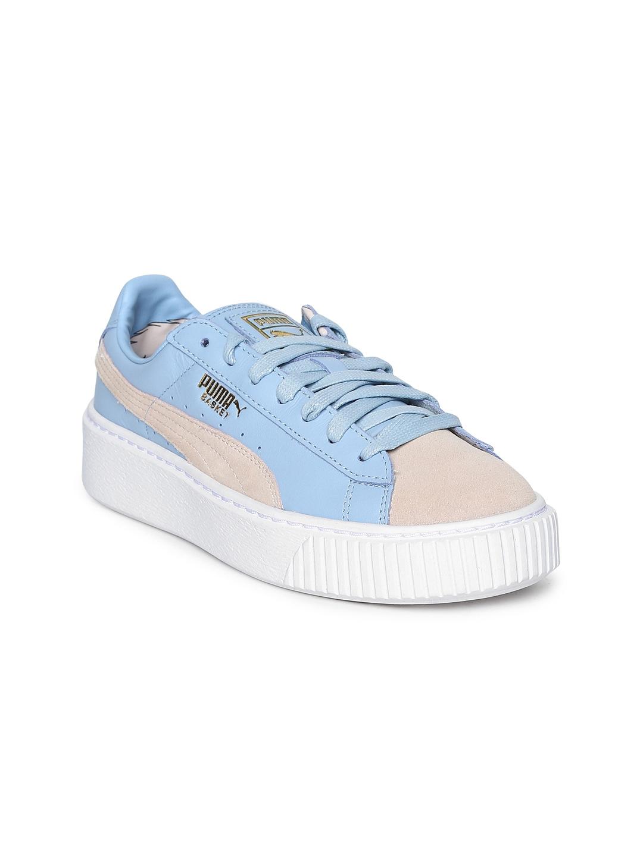 f5e41d5d Puma Women Blue & Pink Basket Platform Coach FM Leather Sneakers