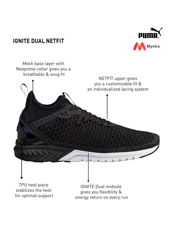 77614d0a7ffd Buy Puma Men Black IGNITE Dual NETFIT Running Shoes - Sports Shoes ...