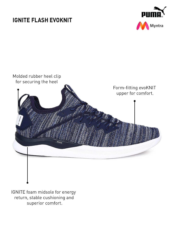 d13dc6ebcc61 Buy Puma Men Blue IGNITE Flash EvoKNIT Running Shoes - Sports Shoes ...