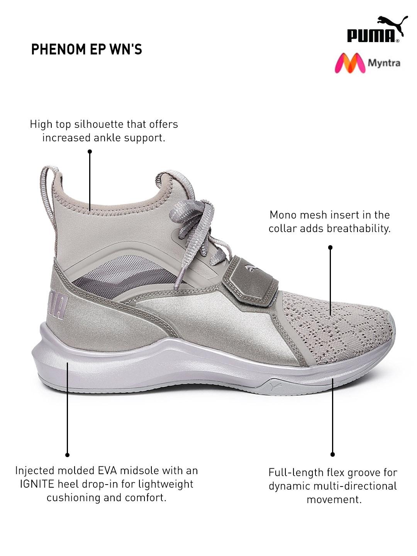 11860e06e3528b Buy Puma Women Gunmetal Toned Phenom EP Training Shoes - Sports ...