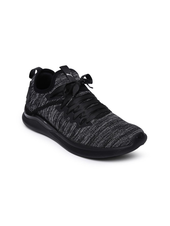 half off 6a78a 5a28b Puma Women Black & Charcoal Grey IGNITE Flash evoKNIT Satin EP Training  Shoes