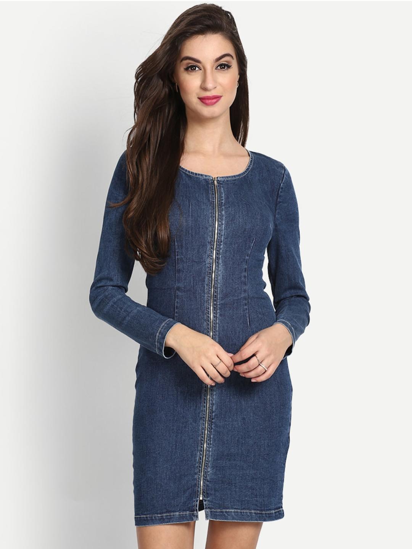 b5d0fb928d Buy StalkBuyLove Women Blue Solid Denim Bodycon Dress - Dresses for ...