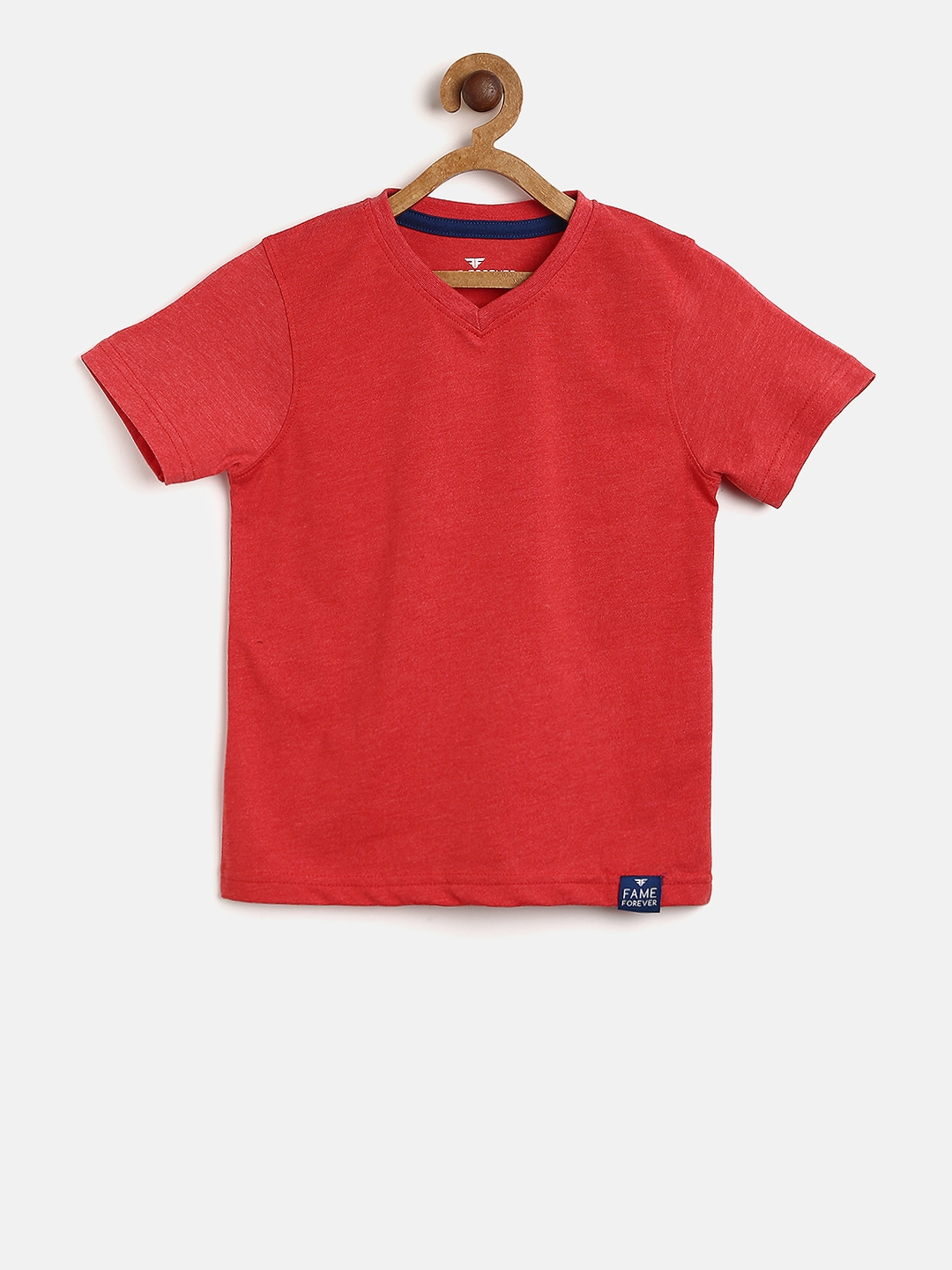 379c4ce2 Buy Fame Forever By Lifestyle Boys Red Solid V Neck T Shirt ...