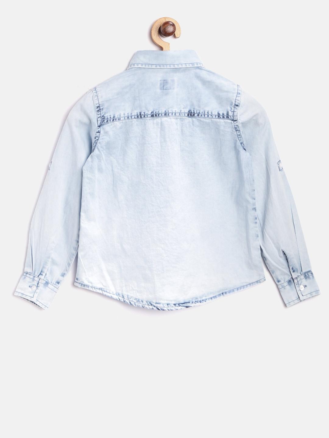Buy Pepe Jeans Girls Blue Regular Fit Washed Denim Shirt Shirts