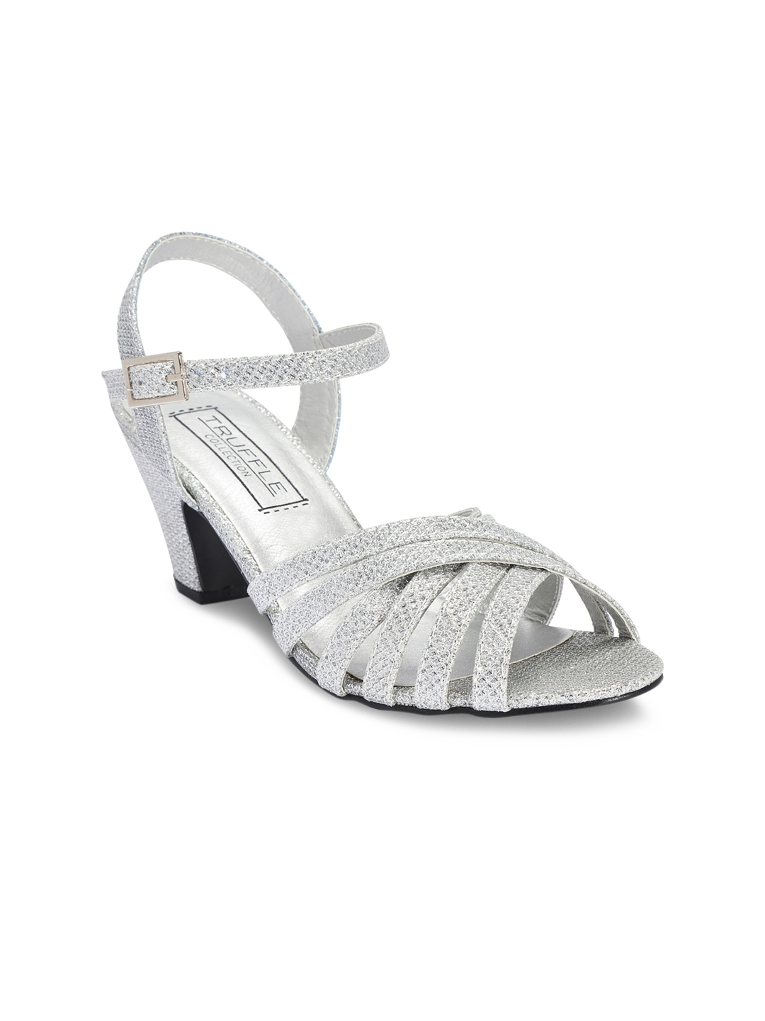 b141045ceb1 Buy Truffle Collection Girls Silver Toned Solid Sandals - Heels for ...