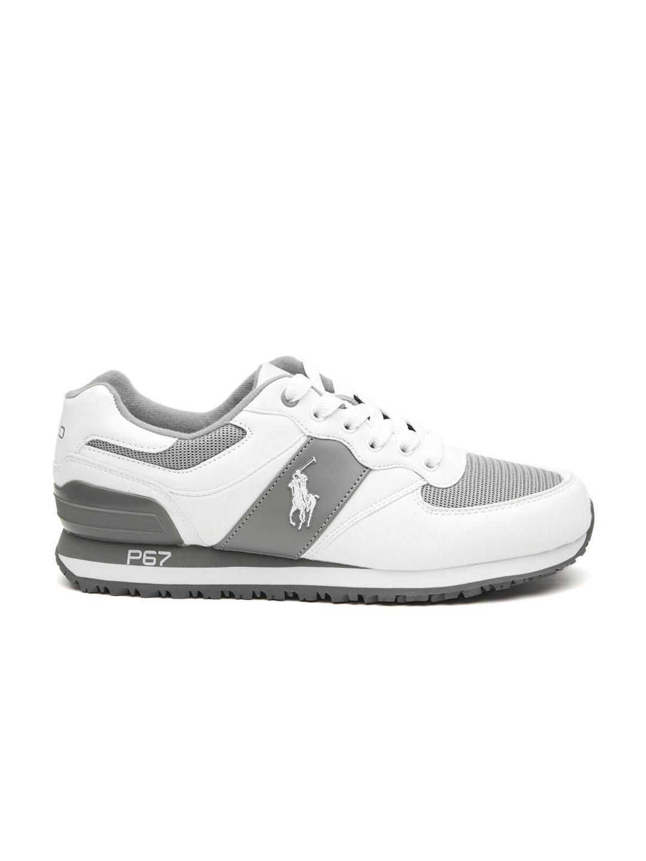 8aed0da3d54 Polo Ralph Lauren White   Charcoal Grey Slaton Pony Athletic Sneakers