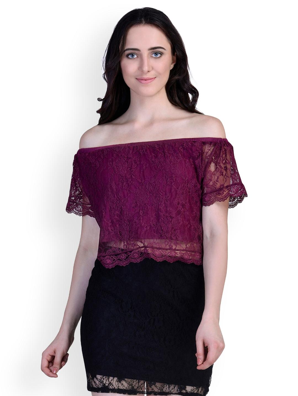 ee8d3e5ad715 Buy Martini Women Burgundy Self Design Off Shoulder Top - Tops for ...